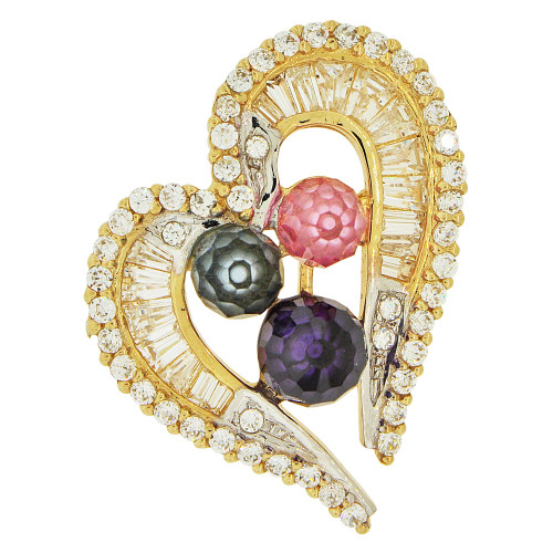 14k Yellow Gold, Fancy Heart Slider Pendant Charm Colorful Created CZ Crystals (P061-002)