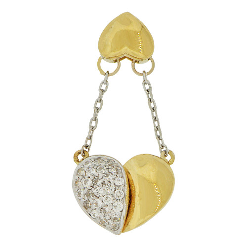 14k Yellow Gold White Rhodium, Double Heart Dangling Pendant Charm Created CZ Crystals (P061-009)