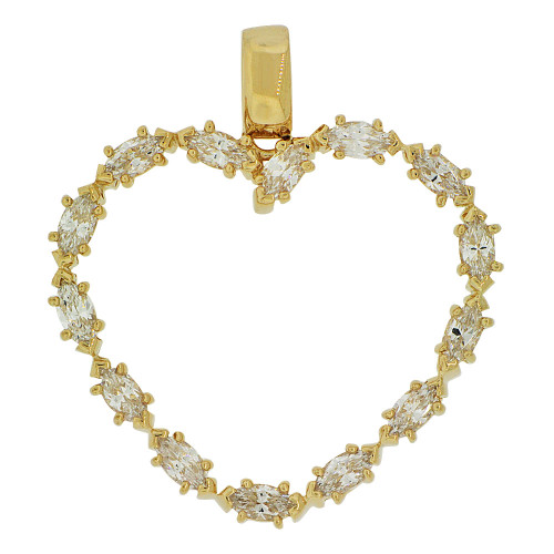 14k Yellow Gold, Elegant Open Heart Pendant Charm Marquise Created CZ Crystals (P061-022)