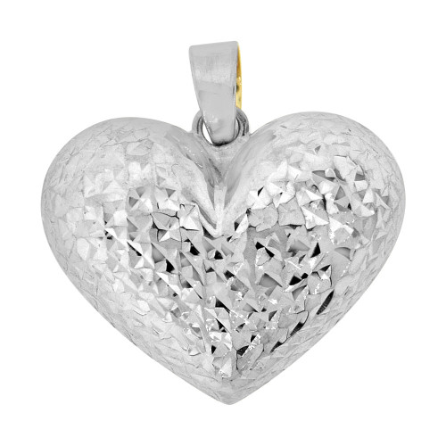 14k Yellow Gold White Rhodium, Reversible Hollow Puff Heart Pendant Charm Sparkly Cuts (P061-027)