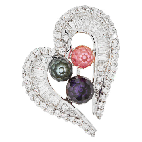 14k Gold White Rhodium, Fancy Heart Slider Pendant Charm Colorful Created CZ Crystals (P061-052)