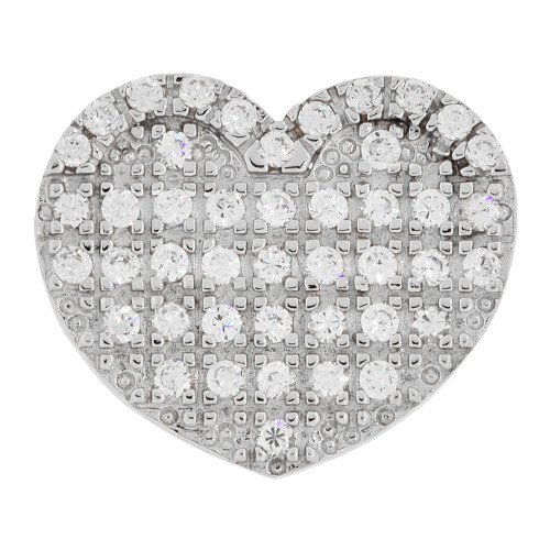 14k Gold White Rhodium, Modern Design Slider Heart Pendant Charm Created CZ Crystals  (P061-064)