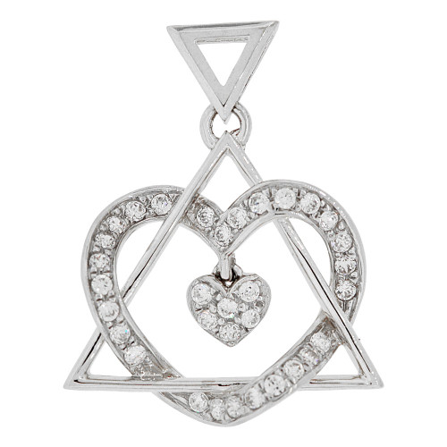 14k Gold White Rhodium, Mystic Triangle and Heart Pendant Charm Created CZ Crystals (P061-069)