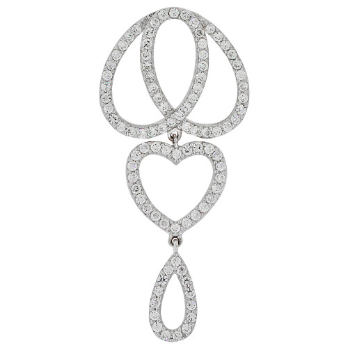 14k Gold White Rhodium, Fancy Dangling Heart Pear Pendant Created CZ Crystals (P061-071)