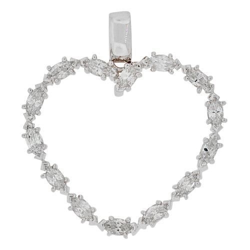 14k Gold White Rhodium, Elegant Open Heart Pendant Charm Marquise Created CZ Crystals (P061-072)