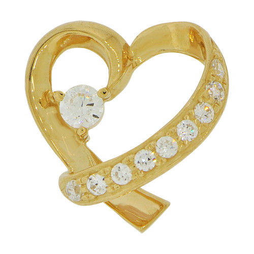 14k Yellow Gold, Small Modern Abstract Heart Pendant Charm Created CZ Crystals (P062-003)