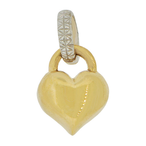 14k Yellow and White Gold, Elegant Puffed Hollow Heart Pendant Charm (P062-006)