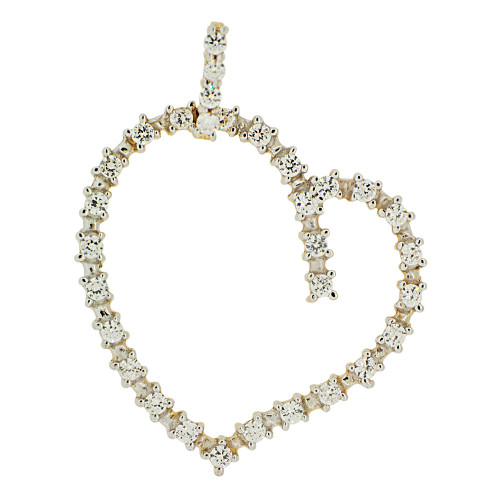 14k Yellow Gold White Rhodium, Skewed Heart Pendant Charm Created CZ Crystals  (P062-009)