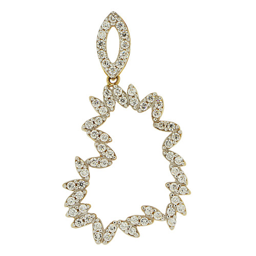14k Yellow Gold White Rhodium, Bold Abstract Skewed Heart Pendant Charm Created CZ Crystals (P062-011)