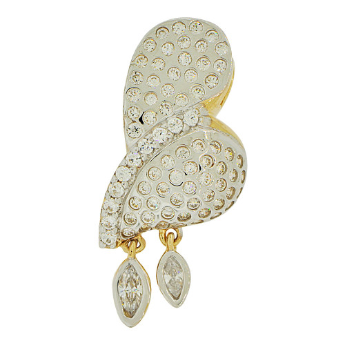 14k Yellow Gold White Rhodium, Abstract Heart Design Pendant Charm Created CZ Crystals  (P062-012)