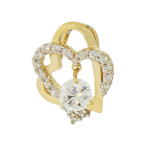 14k Yellow Gold White Rhodium, Small Size Double Heart Pendant Charm Created CZ Crystals (P062-016)