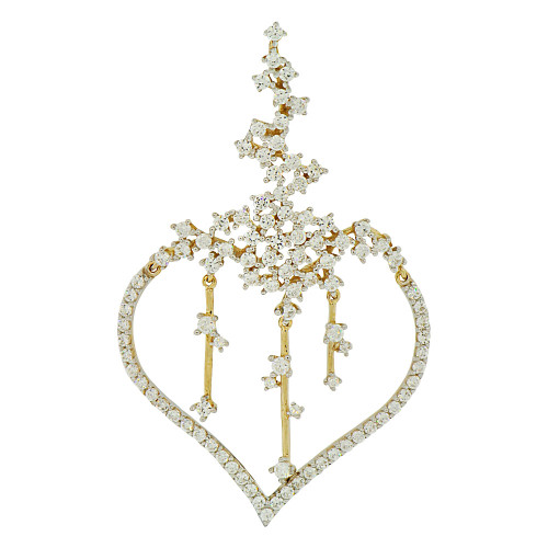 14k Yellow Gold White Rhodium, Fancy Heart Pendant Charm Created CZ Crystals (P062-017)