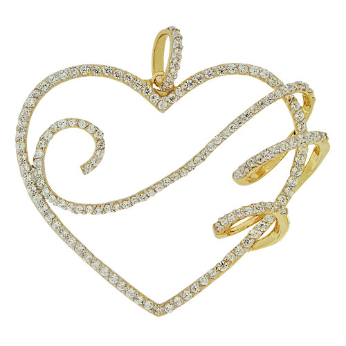 14k Yellow Gold White Rhodium, Fancy Bold Heart Pendant Charm Created CZ Crystals (P062-018)