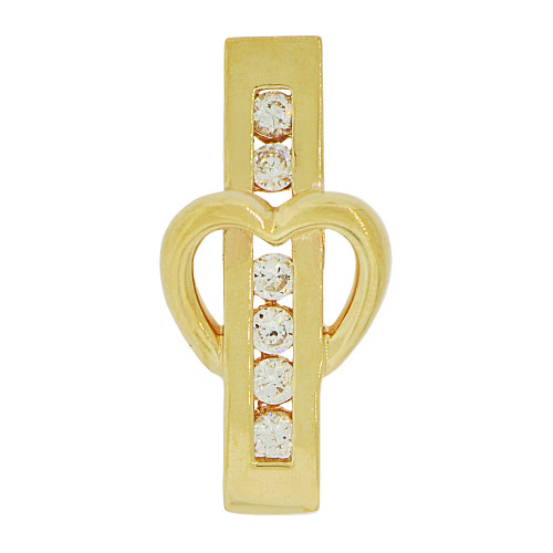 14k Yellow Gold, Small Size Sparkling Bar and Heart Pendant Charm Created CZ Crystals (P062-020)