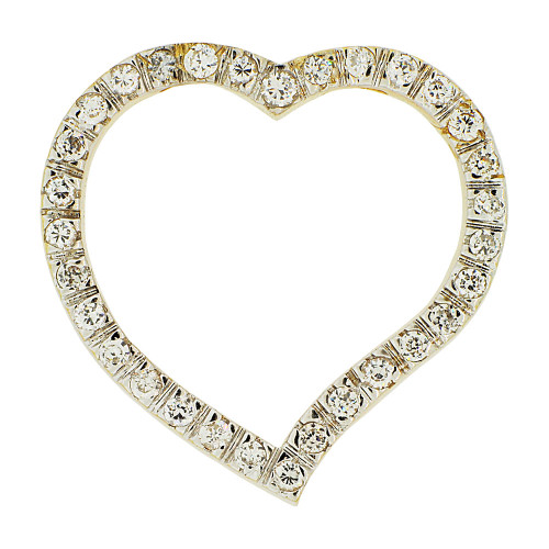 14k Yellow Gold White Rhodium, Slider Type Open Heart Pendant Created CZ Crystals (P062-023)