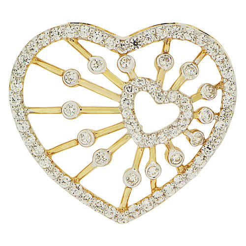 14k Yellow Gold White Rhodium, Fancy Abstract Double Heart Pendant Charm Created CZ Crystals  (P062-024)