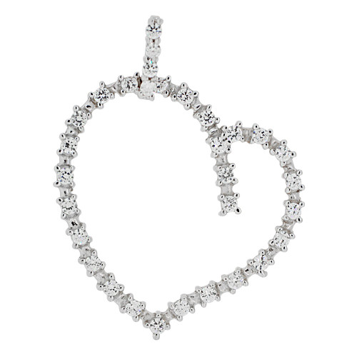 14k Gold White Rhodium, Modern Skewed Heart Pendant Charm Created CZ Crystals  (P062-059)