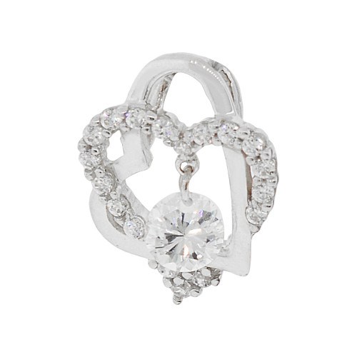14k Gold White Rhodium, Small Size Double Heart Pendant Charm Created CZ Crystals (P062-066)