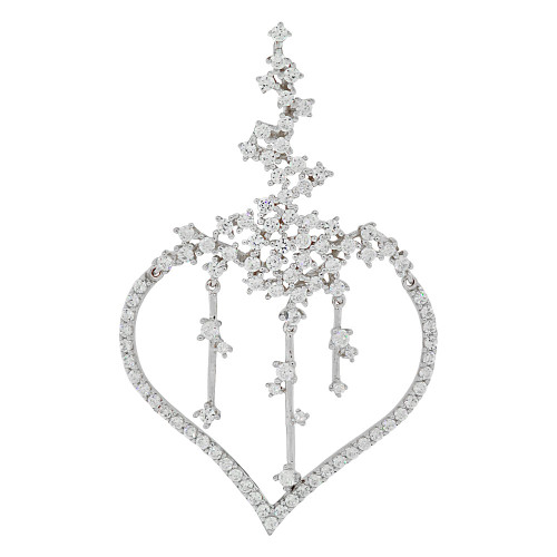 14k Gold White Rhodium, Fancy Heart Pendant Charm Created CZ Crystals (P062-067)