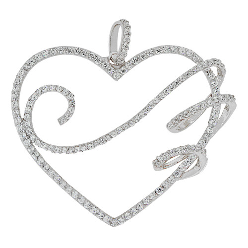 14k Gold White Rhodium, Fancy Bold Heart Pendant Charm Created CZ Crystals (P062-068)
