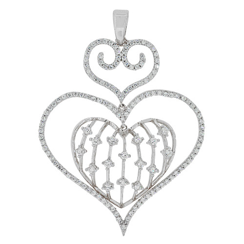14k Gold White Rhodium, Fancy Dangling Three Heart Pendant Charm Created CZ Crystals  (P062-069)
