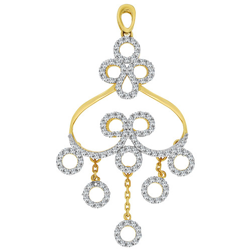 14k Yellow Gold White Rhodium, Fancy Abstract Design Dangling Pendant Charm Created CZ Crystals  (P059-001)