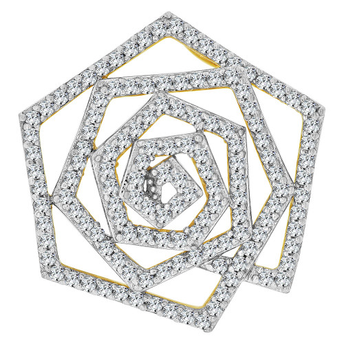 14k Yellow Gold White Rhodium, Fancy Spiral Design Slider Pendant Charm Created CZ Crystals (P059-002)