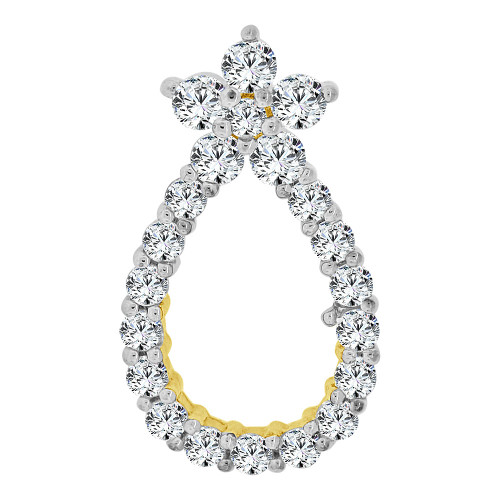 14k Yellow Gold, Small & Simple Pear Shape Pendant Charm Created CZ Crystals (P059-005)