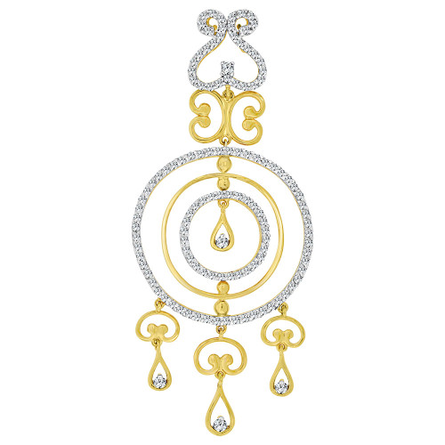 14k Yellow Gold, Fancy Abstract Design Dangling Pendant Charm Created CZ Crystals (P059-006)