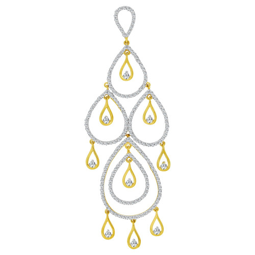 14k Yellow Gold, Fancy Abstract Design Dangling Pendant Charm Created CZ Crystals (P059-007)
