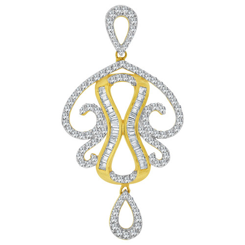 14k Yellow Gold, Fancy Abstract Design Dangling Pendant Charm Created CZ Crystals (P059-008)