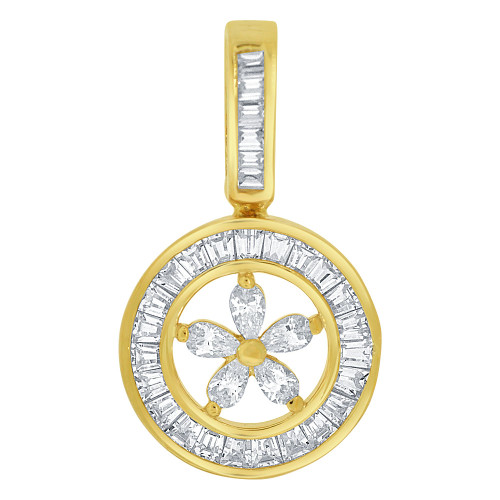 14k Yellow Gold, Abstract Flower in Circular Design Pendant Charm Created CZ Crystals (P059-011)