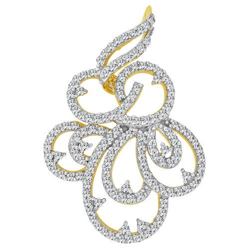 14k Yellow Gold, Fancy Abstract Design Dangling Pendant Charm Created CZ Crystals (P059-012)