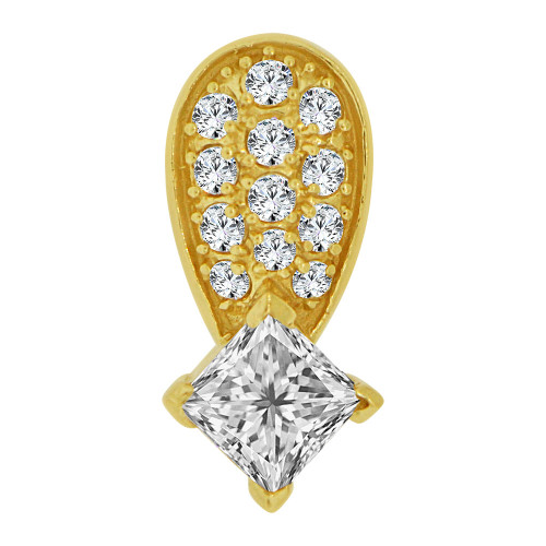 14k Yellow Gold, Small Size Abstract Slider Pendant Charm Created CZ Crystals (P059-014)