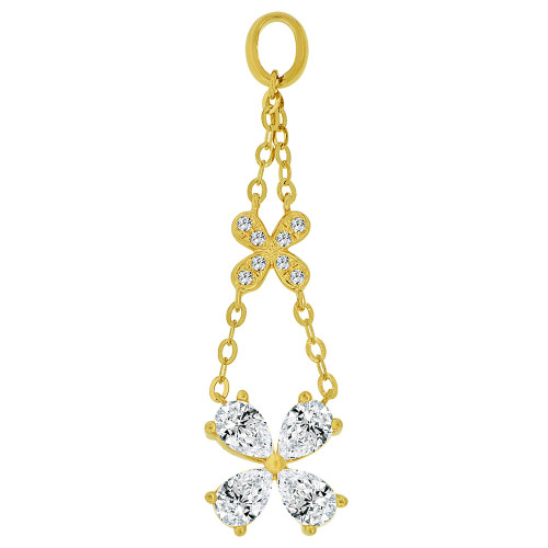 14k Yellow Gold, Dangling Abstract Flower Design Pendant Charm Created CZ Crystals (P059-016)