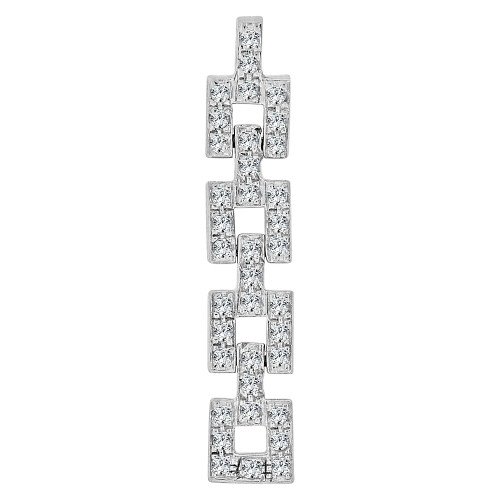 14k Yellow Gold White Rhodium, Flexible Square Link Pendant Charm Created CZ Crystals (P059-019)