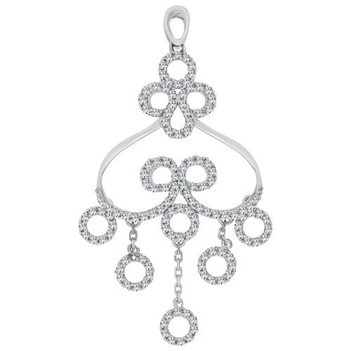 14k Gold White Rhodium, Fancy Abstract Design Dangling Pendant Charm Created CZ Crystals (P059-051)