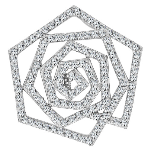 14k Gold White Rhodium, Fancy Abstract Design Slider Pendant Charm Created CZ Crystals (P059-052)