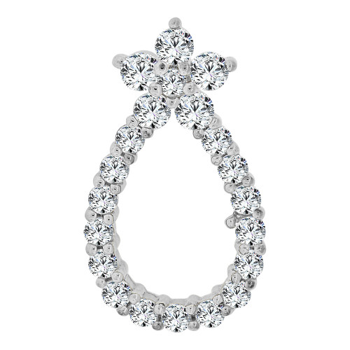 14k Gold White Rhodium, Simple Pear Shape Pendant Charm Created CZ Crystals  (P059-055)