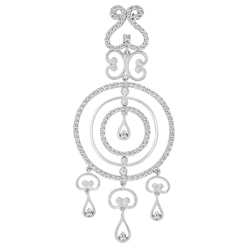 14k Gold White Rhodium, Fancy Abstract Design Dangling Pendant Charm Created CZ Crystals (P059-056)
