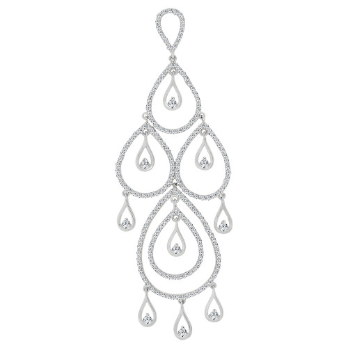 14k Gold White Rhodium, Fancy Abstract Design Dangling Pendant Charm Created CZ Crystals (P059-057)
