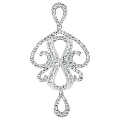 14k Gold White Rhodium, Fancy Abstract Design Dangling Pendant Charm Created CZ Crystals  (P059-058)