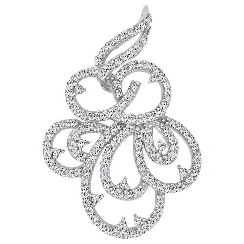 14k Gold White Rhodium, Fancy Abstract Design Dangling Pendant Charm Created CZ Crystals  (P059-062)