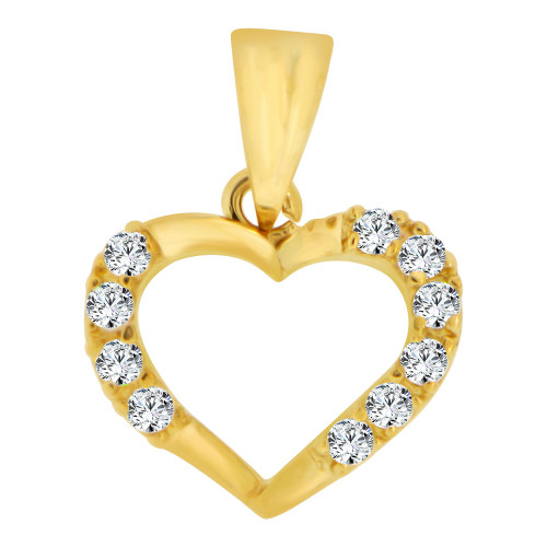 14k Yellow Gold, Small Size Open Heart Pendant Charm Created CZ Crystals (P063-003)