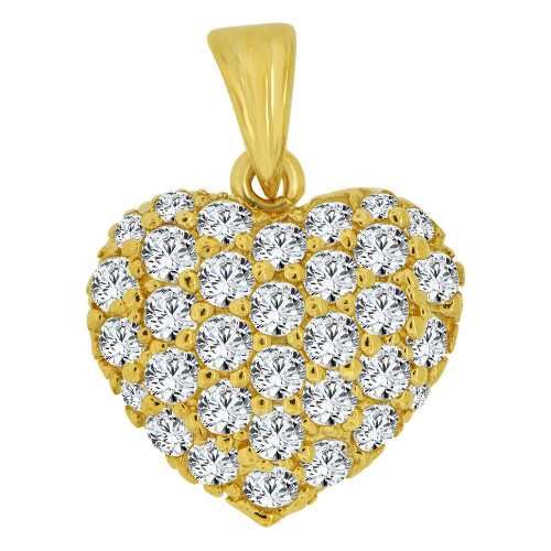 14k Yellow Gold, Classic Domed Heart Pendant Charm Brilliant Created CZ Crystals (P063-004)