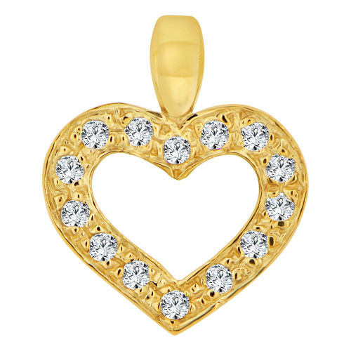 14k Yellow Gold, Small Size Open Heart Pendant Charm Created CZ Crystals (P063-005)