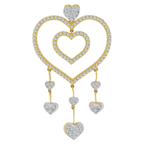 14k Yellow Gold White Rhodium, Fancy Multi Heart Drop Pendant Charm Brilliant Created CZ Crystals (P063-006)