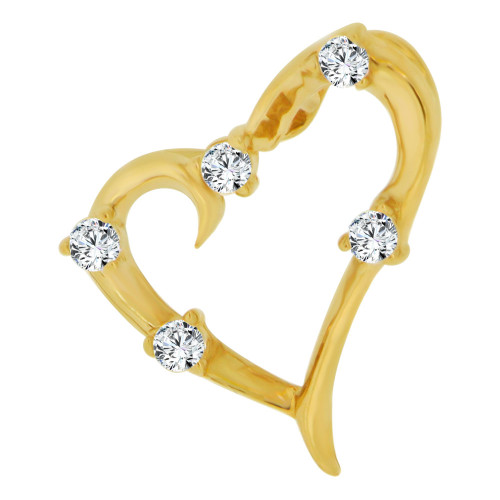 14k Yellow Gold, Mini Size Slider Type Open Heart Pendant Charm Created CZ Crystals (P063-007)