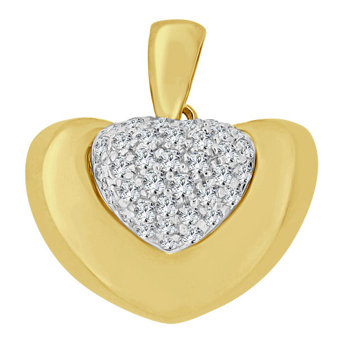 14k Yellow Gold White Rhodium, Modern Abstract Heart Pendant Charm Created CZ Crystals (P063-008)