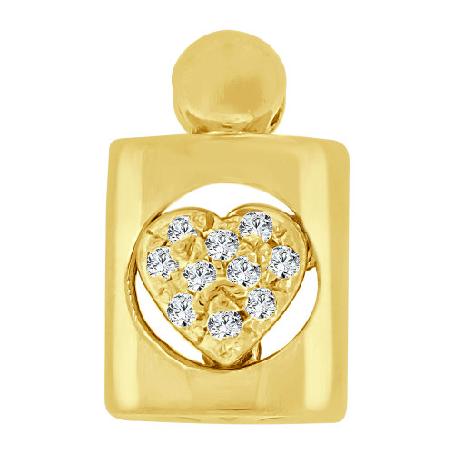 14k Yellow Gold, Small Size Heart Medallion Pendant Charm Created CZ Crystals  (P063-009)
